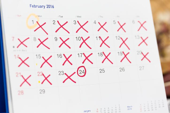 Kalender med afsluttede gaviditetsuger