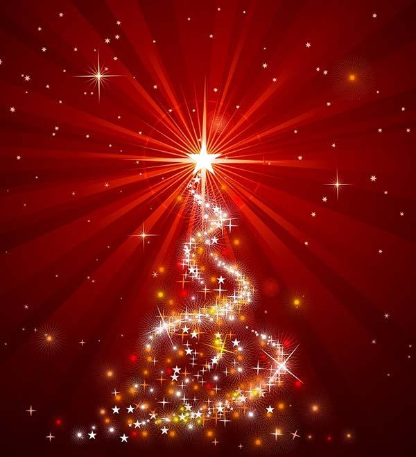 Magisk lysende juletræ. Glædelig Jul