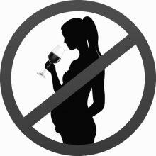 En overstreget tegning af gravid kvinde med et glas vin. Kan ofte ses på øl og vin i mange lande