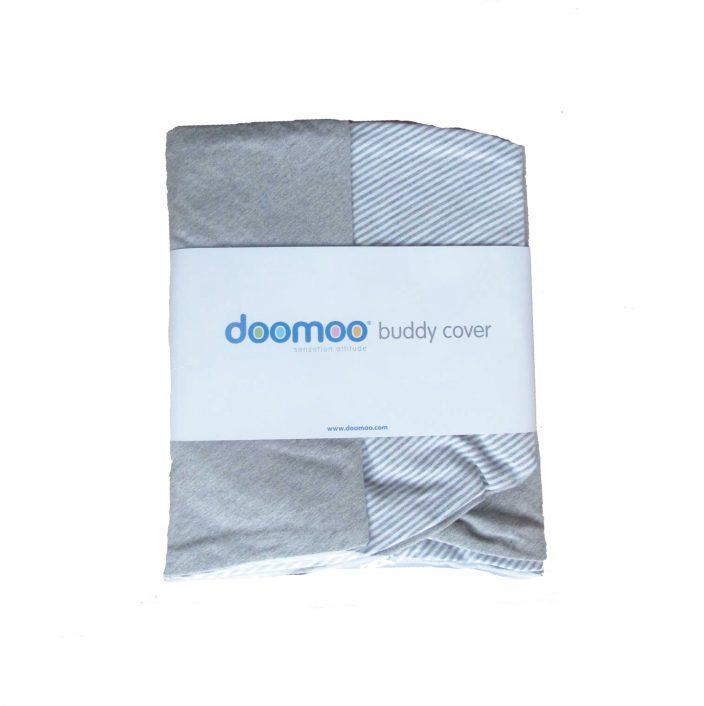 Ammepudebetræk til stor Doomoo grå/hvid stribet