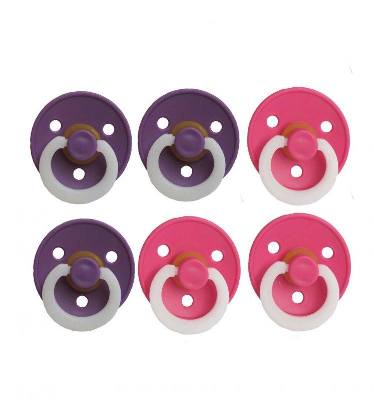 Sutter Bibs 6 stk – nat pink + lilla