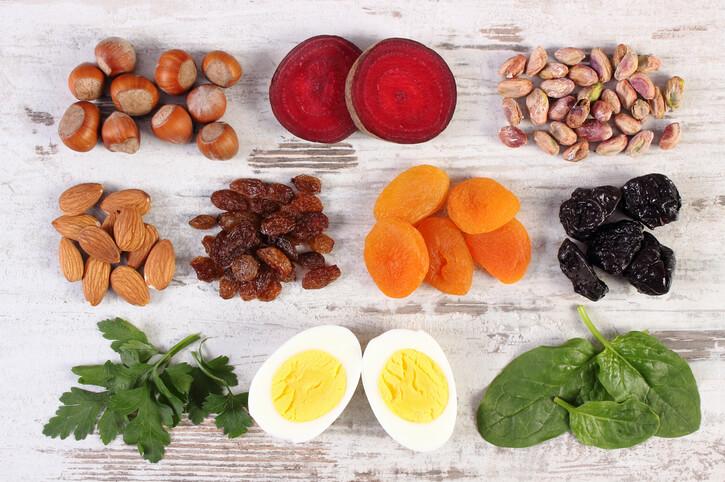 Fødevare / mad med højt indhold af jern