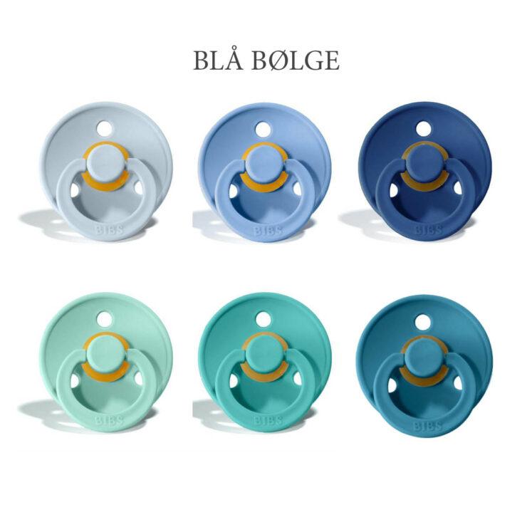 Bibs Colour 6 stk Blå Bølge – latex sutter i str. 2