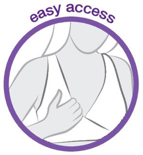 Medela tegning af Easy Access nat- og amningsbh i hvid.