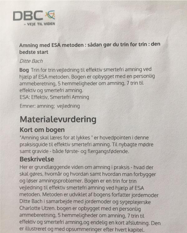 Amning med ESA-Metoden, Anmeldelse fra bibliotekerne.