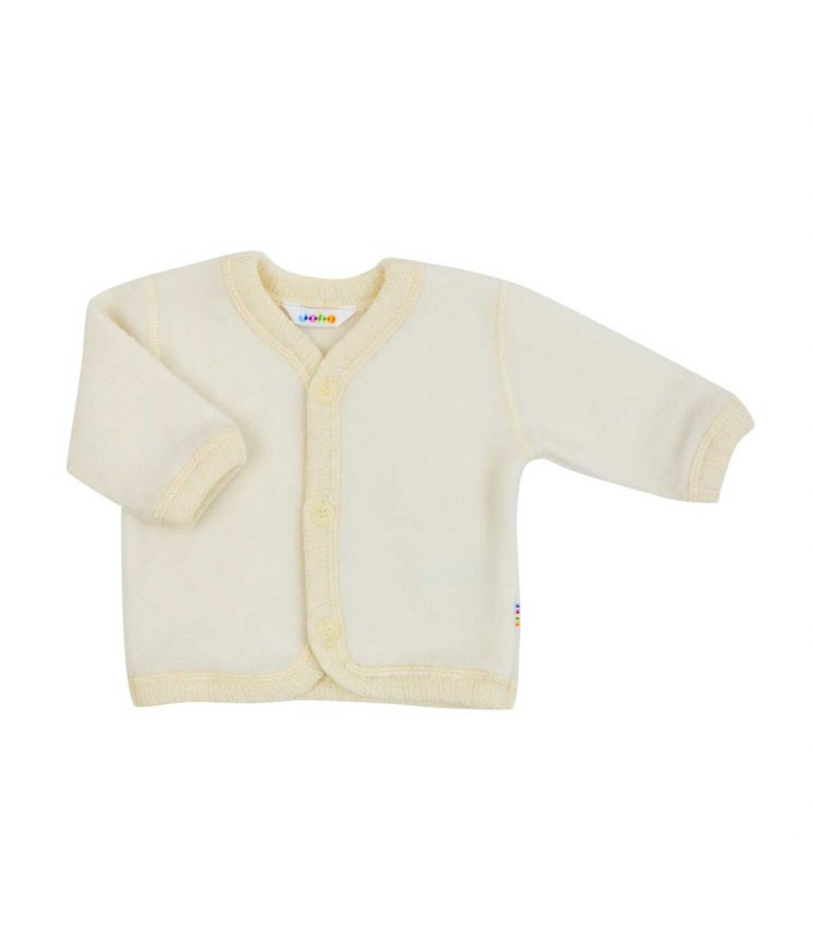 Cardigan / jakke i uld fleece, natur fra Joha