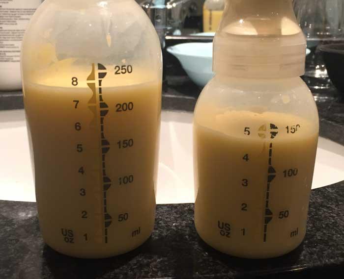 Råmælk i stor mængde.
