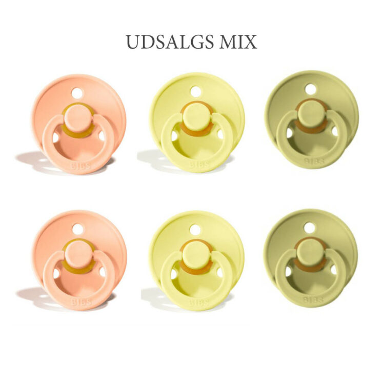 6 Bibs Colour UDSALGS Mix(begrænset antal) – rund latex sut i str. 2
