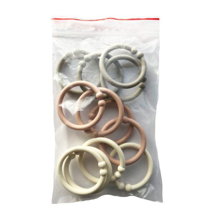 Loops lege ringe fra Bibs i rosa, sand og elfenben (12 stk).