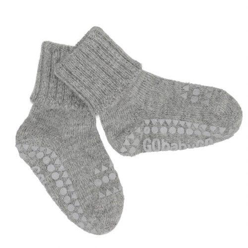 Strømpe non-slip i grå alpaka uld fra Gobabygo