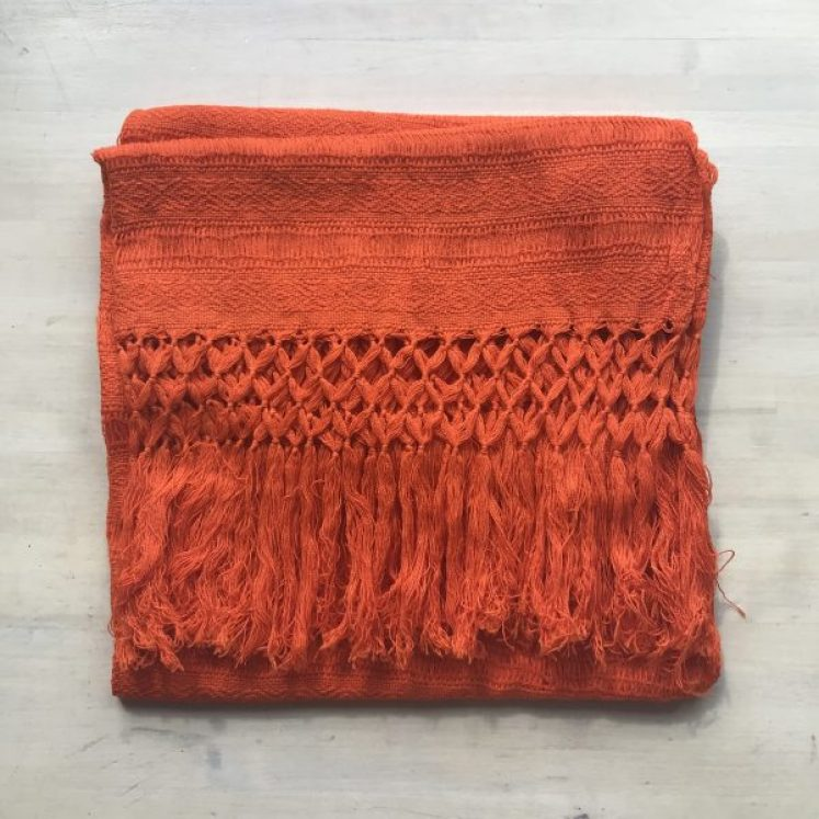 Rebozo Sjal STOR fra Mexico, Orange