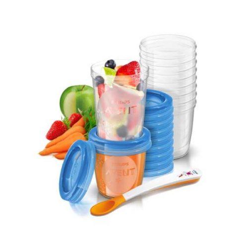 Opbevaringskopper 10 stk af 240 ml og 10 stk af 180 ml + ske fra Philips Avent