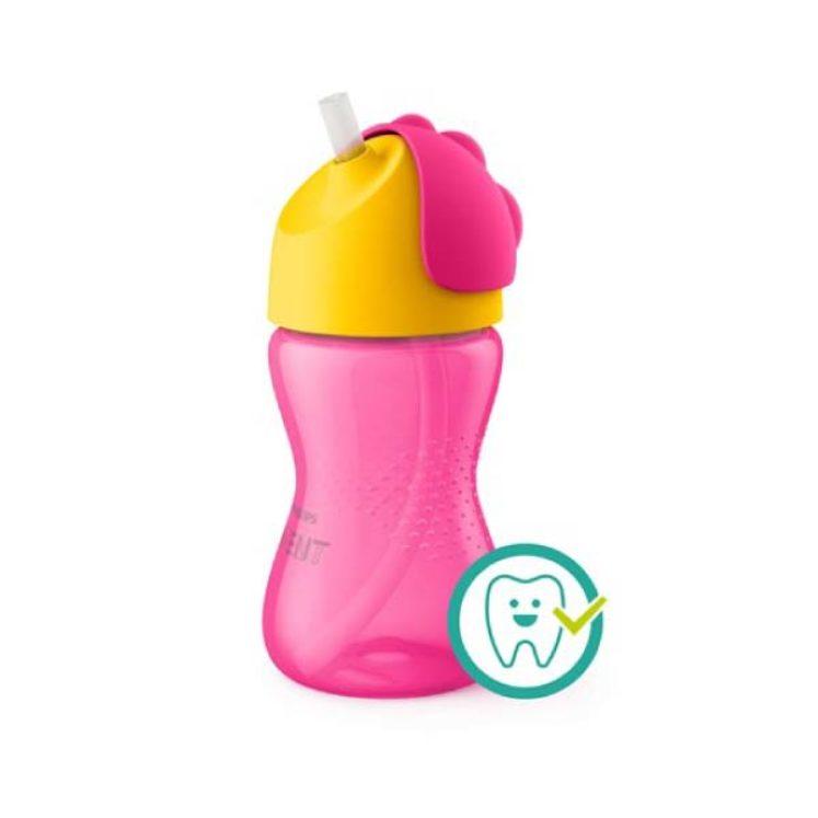 Kop med sugerør, 300 ml i Pink og gul fra Philips Avent