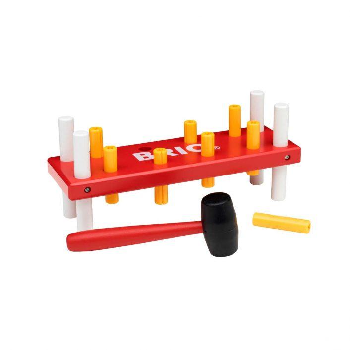 Hammerbræt i rød, gul og hvid fra Brio