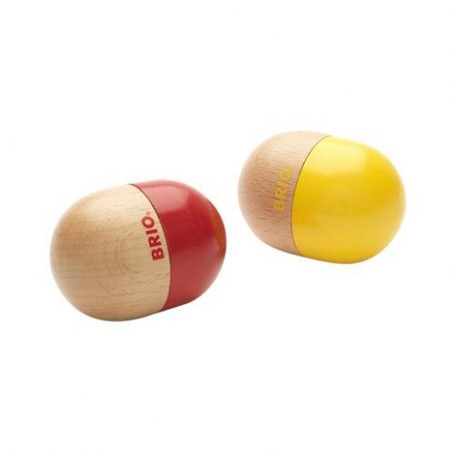 Rasleæg fra Brio, et I rødt og et i gul, med hver sin lyd