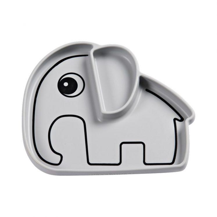 Tallerken i silicone med grå elefant fra Done By Deer
