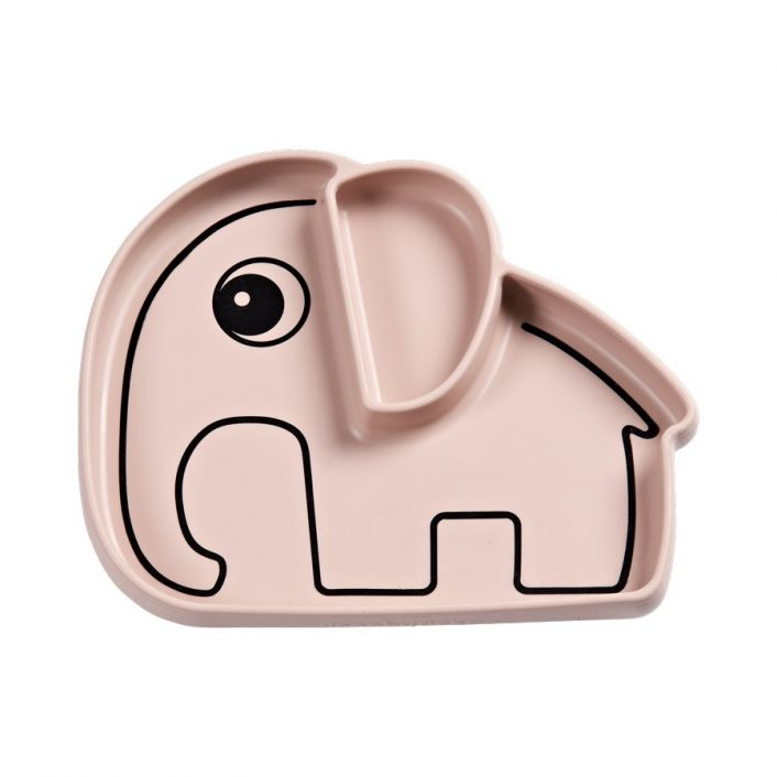Tallerken i silicone med lyserød elefant fra Done By Deer