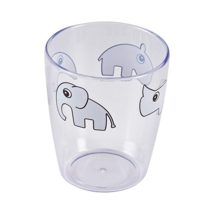 Glas i klar plast med grå dyr fra Done By Deer
