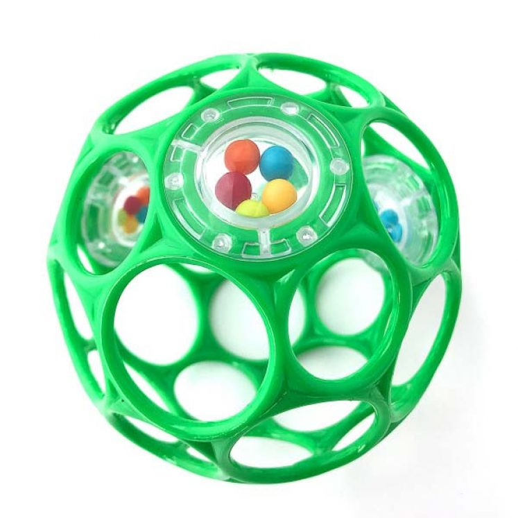 Oball i grøn med perler og raslelyd