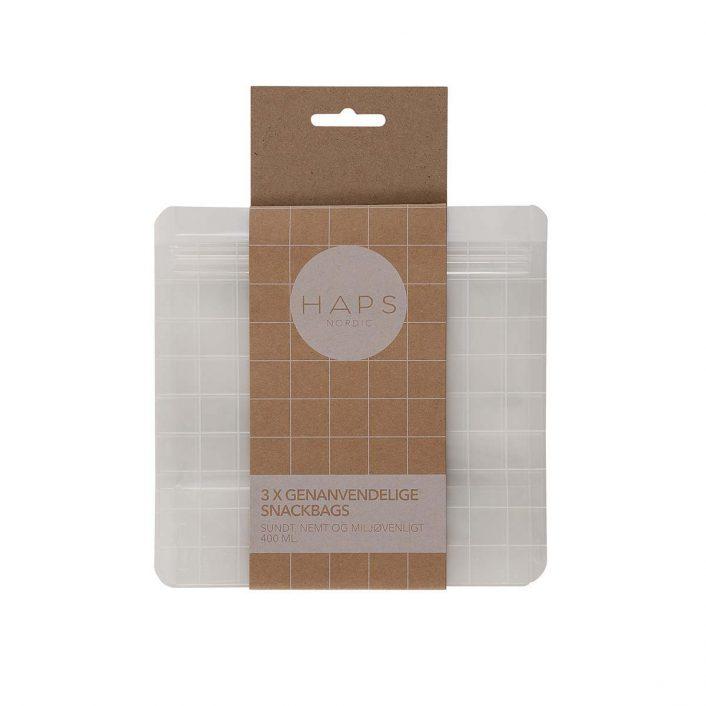 Snackposer, 3 stk genanvendelige poser af 400 ml fra Haps Nordic