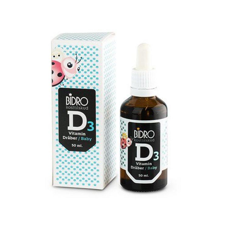 D3 vitamin dråber (i solsikkeolie) til baby fra Bidro