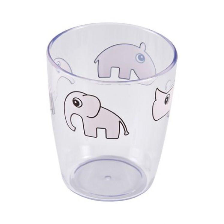 Glas i klar plast med lyserøde dyr fra Done By Deer