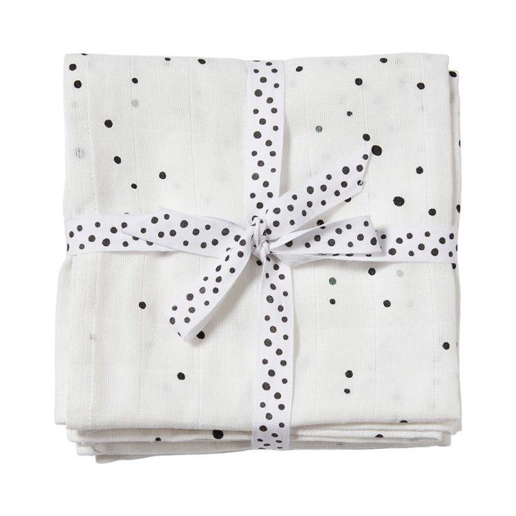Stofbleer i hvid med prikker (2 stk) fra Done by Deer