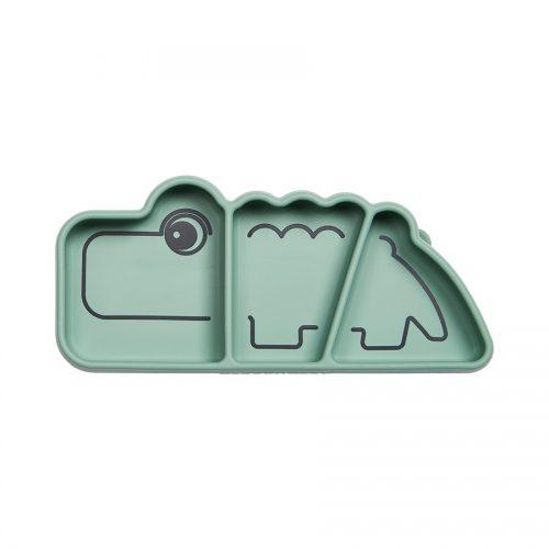 Tallerken – krokodille i grøn silicone fra Done By Deer