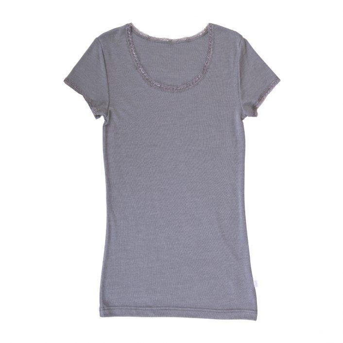 Grå uld/silke T-shirt med blonde fra Joha
