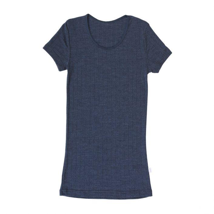 T-shirt i uld/silke med rib i blå fra Joha