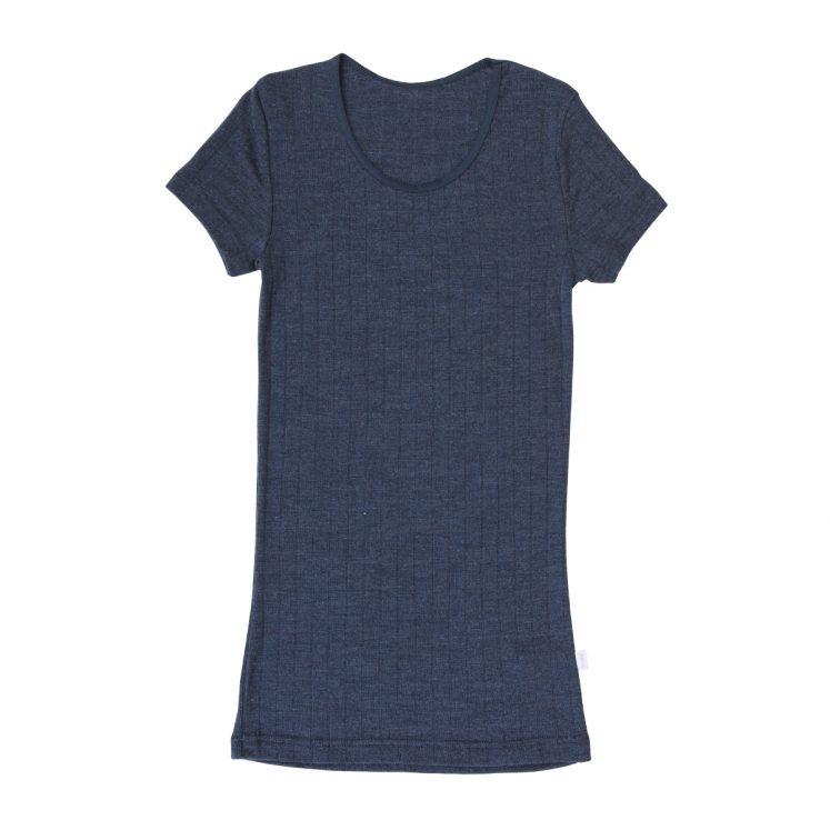 Gråblå uld/silke T-shirt fra Joha