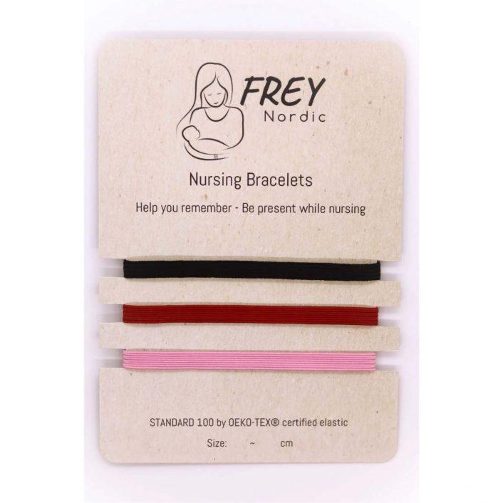 Amme-armbånd (3pak) i sort, rød og lyserød fra Frey Nordic