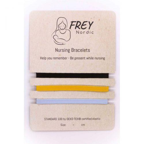 Amme-armbånd (3pak) i sort, gul og lyseblå fra Frey Nordic