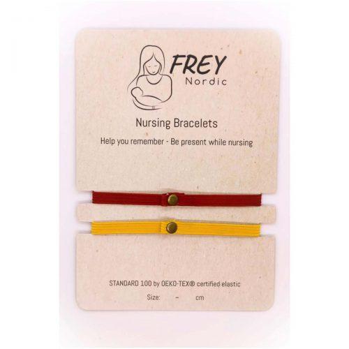 Amme-armbånd med tidsmarkør (2pak) i gul og rød fra Frey Nordic