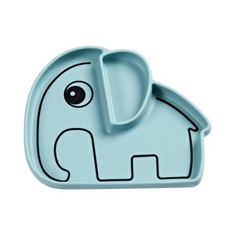 Tallerken i silicone med blå elefant fra Done By Deer