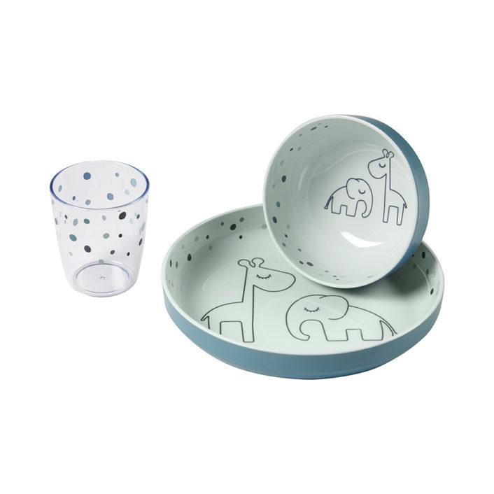 Spisesæt i melamin med glas i petrolium fra Done by Deer