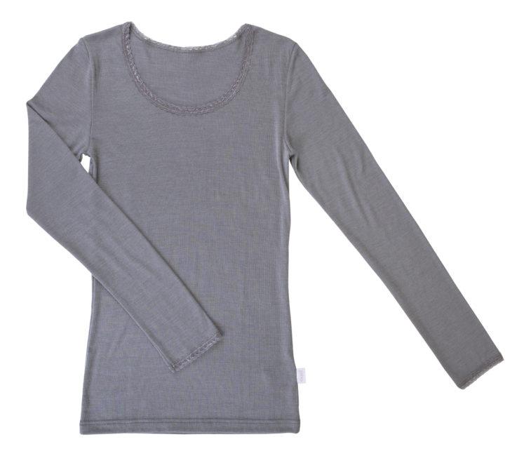 Grå uld/silke bluse med blondekant fra Joha
