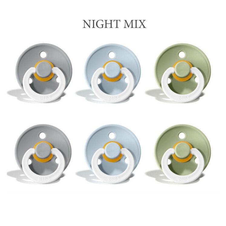 Bibs Colour -NIGHT Mix 3 med 2 cloud, 2 baby blue og 2 sage i st. 2