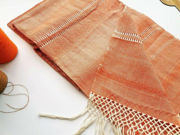 Rebozo sjal i orange fra Mexico 2,5 m