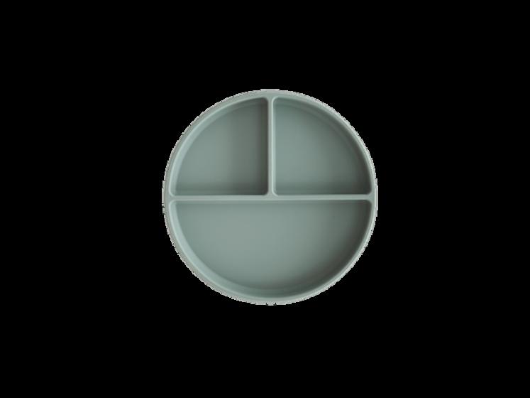 Silikone tallerken med sugekop i Cambridge Blue fra Mushie