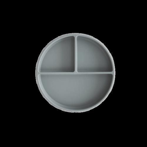 Silikone tallerken med sugekop i Stone fra Mushie