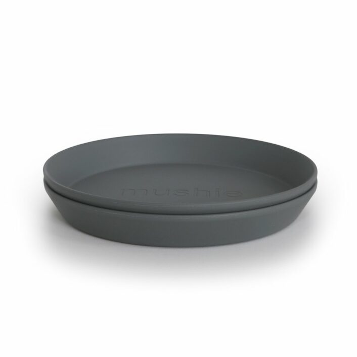 Tallerken i Mørk grå (rund), 2 stk. fra Mushie