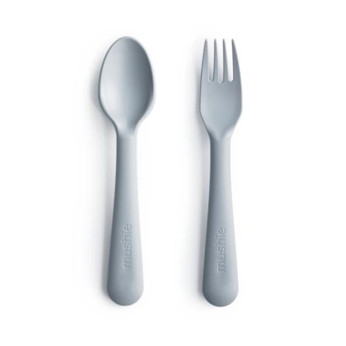 Bestik i Lys grå, ske og gaffel fra Mushie