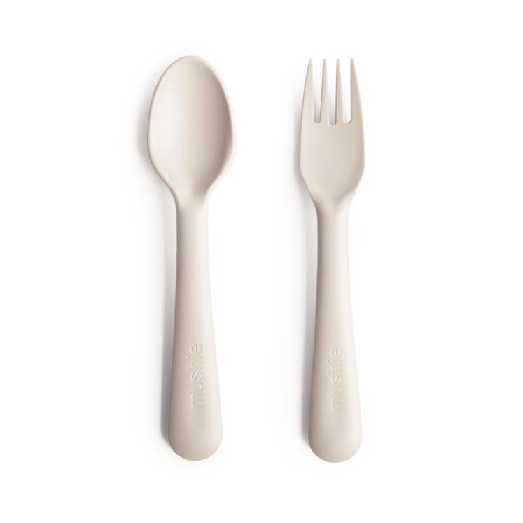 Bestik i Elfenben, ske og gaffel fra Mushie