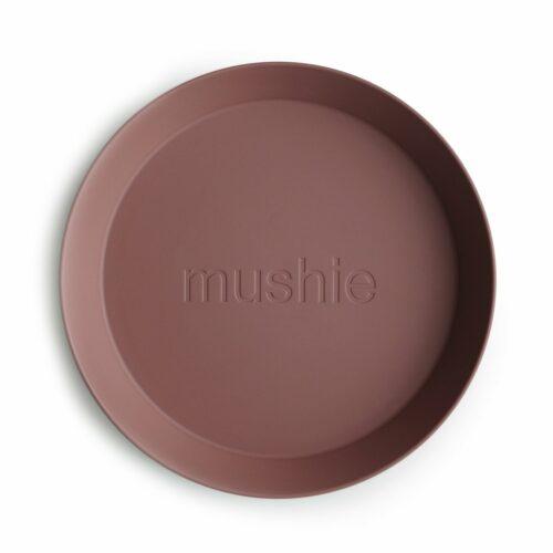 Tallerken i Mørk blush (rund), 2 stk. fra Mushie
