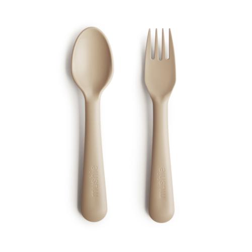 Bestik i Vanilje, ske og gaffel fra Mushie