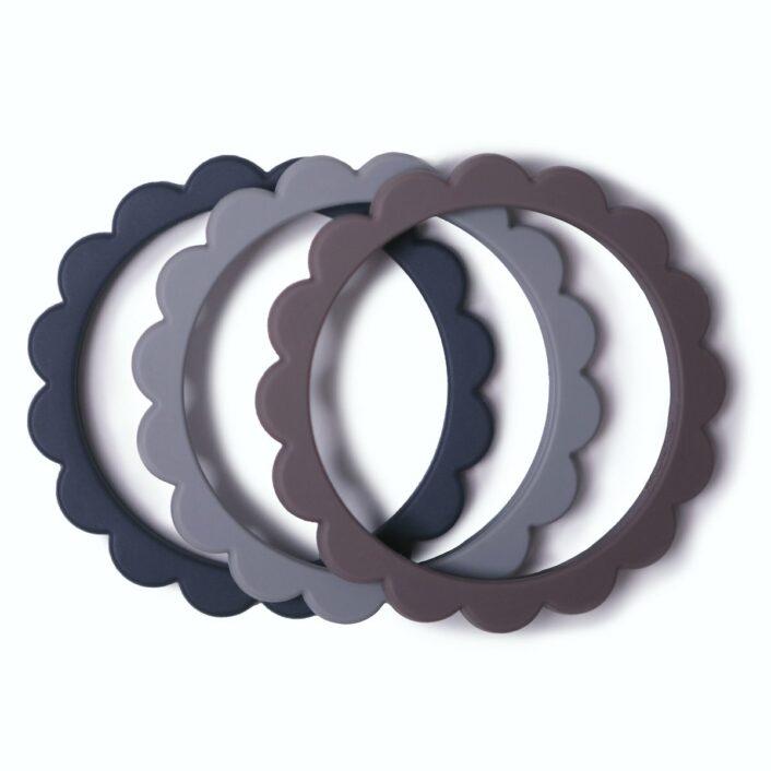 Bideringe i Dove grey, Stone og Steel fra Mushie, (3 stk.)