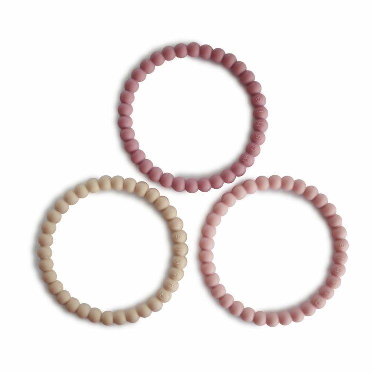Bideringe, Pearl, i Linen, Peony og Pale pink fra Mushie, (3 stk.)