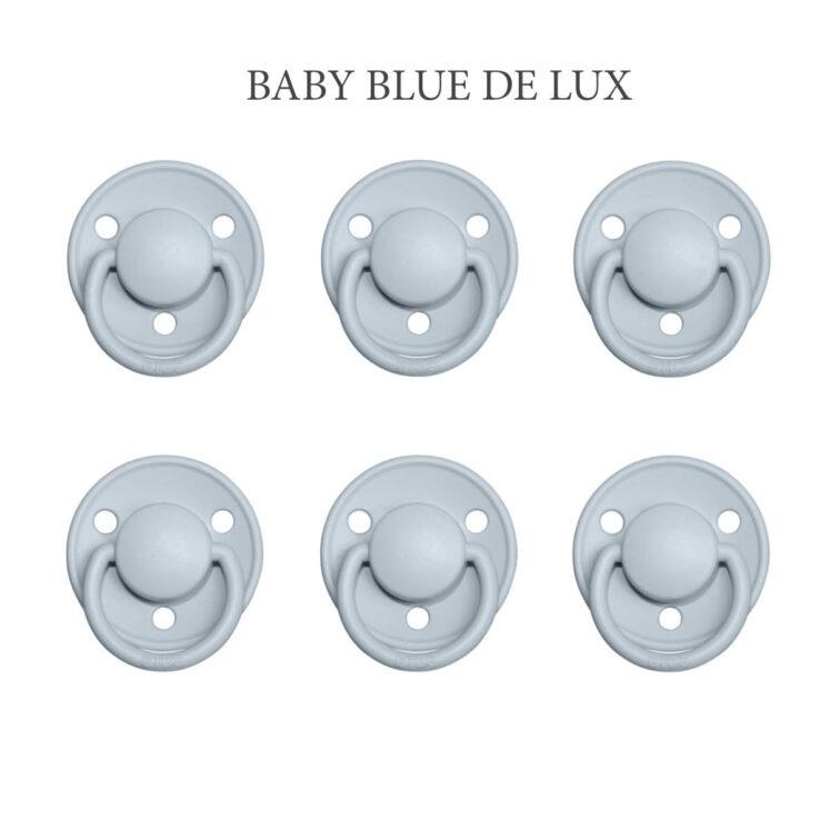 Bibs DE LUX Baby Blue, 6 latex sutter i str. 2