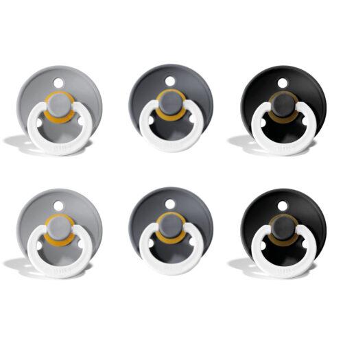 Sutter Bibs Colour 6 stk – NIGHT mix4 med cloud, iron og black – str. 2